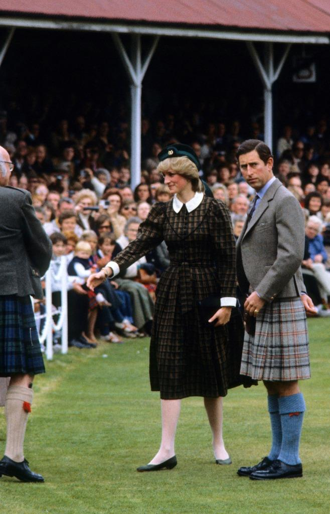 The princess in her brown tartan dress with Peter Pan collar. (Photo: Getty)