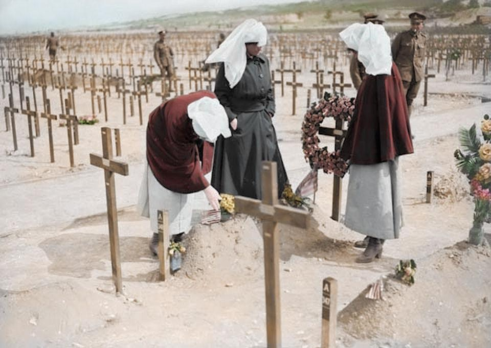 <p>Canadian Nursing Sisters at the site of mass graves (Royston Leonard / Media Drum World / Caters News) </p>