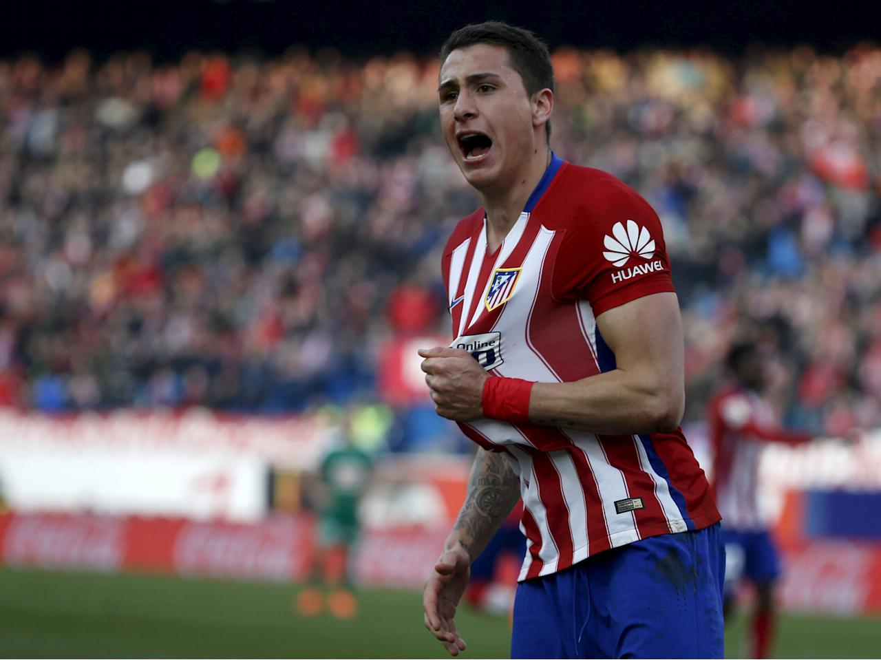Football Soccer - Atletico Madrid v Eibar - Spanish Liga BBVA - Vicente Calderon stadium, Madrid, Spain - 06/02/16 Atletico Madrid's Jose Maria Gimenez celebrates his goal. REUTERS/Javier Barbancho