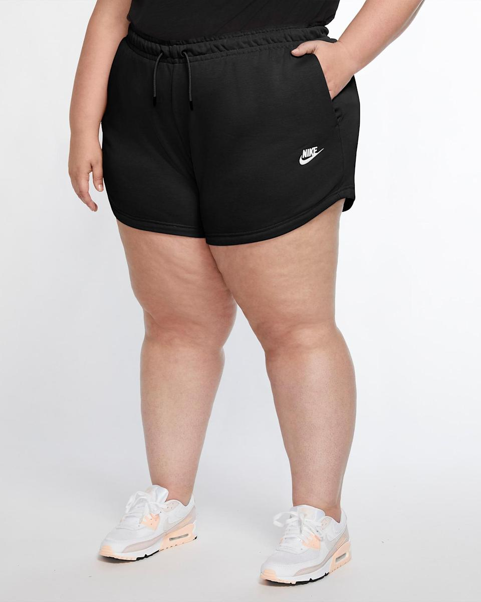 "Whether it's for exercising or working from home, these black shorts are guaranteed to be the first thing you reach for on lazy summer mornings. (Psst: The high cut will also give you legs for days.) $40, Nike. <a href=""https://www.nike.com/t/sportswear-essential-womens-french-terry-shorts-WdjJ92/CZ3554-010"" rel=""nofollow noopener"" target=""_blank"" data-ylk=""slk:Get it now!"" class=""link rapid-noclick-resp"">Get it now!</a>"