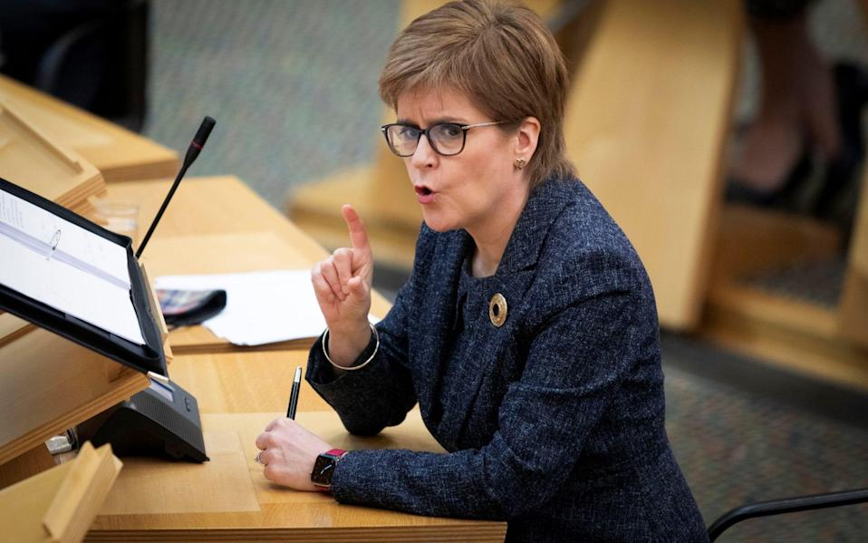 Scottish First Minister Nicola Sturgeon speaks during the First Minster's Questions - POOL/Reuters