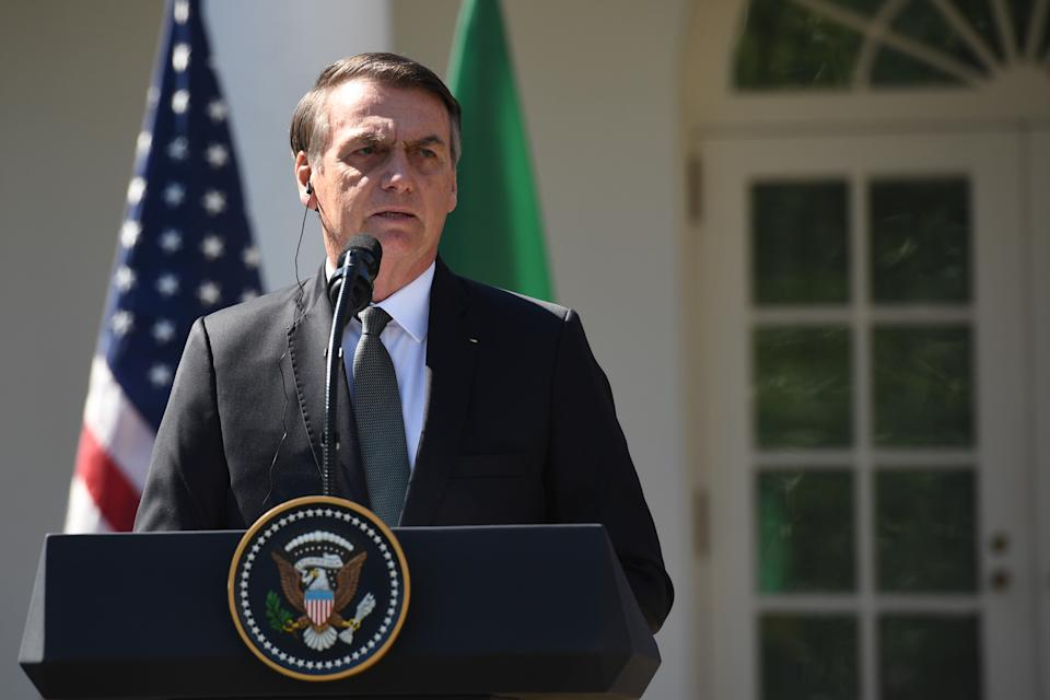 Brazil's President Jair Bolsonaro speaks during a joint press conference with  US President Donald Trump in the Rose Garden at the White House on March 19, 2019 in Washington, DC. (Photo by Jim WATSON / AFP)        (Photo credit should read JIM WATSON/AFP via Getty Images)
