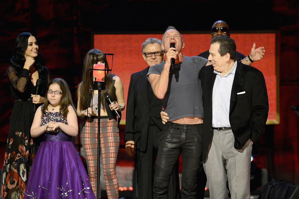 NEW YORK, NY - OCTOBER 13:  Katy Perry, Carly Rae Jepsen,  Harvey Keitel, Sting and J.B. Smoove perform onstage at Comedy Central's night of too many stars: America comes together for autism programs at The Beacon Theatre on October 13, 2012 in New York City.  (Photo by Dimitrios Kambouris/Getty Images)