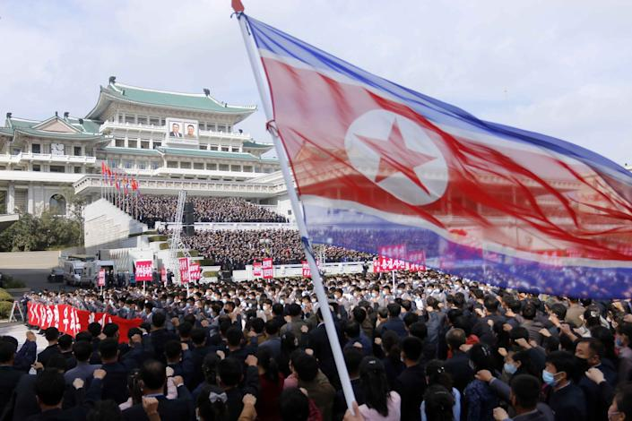 Thousands rally for a congress of the Workers' Party of Korea in Pyongyang, North Korea in October.