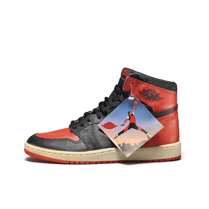 "<div class=""caption""> Peter Moore's ""Bred"" Nike Air Jordan 1 High OG (1985). </div>"