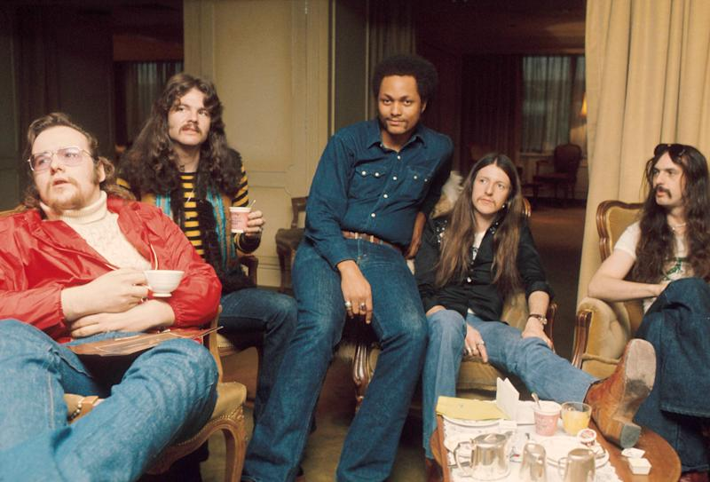 Doobie Brothers, group portrait, London, 1974. (Photo by Michael Putland/Getty Images)