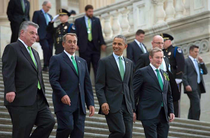 From left: Rep. Peter King (R-N.Y.), Speaker of the House John Boehner (R-Ohio), President Barack Obama (D) and Irish Prime Minister Taoiseach Enda Kenny depart the annual Friends of Ireland luncheon on Capitol Hill on St. Patrick's Day 2015.