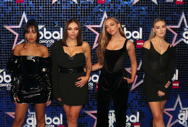 LONDON, UNITED KINGDOM - 2019/03/07: (L to R) Leigh-Anne Pinnock, Jesy Nelson, Jade Thirlwall and Perrie Edwards of Little Mix attend The Global Awards 2019 at the Eventim Hammersmith Apollo in London. (Photo by Brett Cove/SOPA Images/LightRocket via Getty Images)