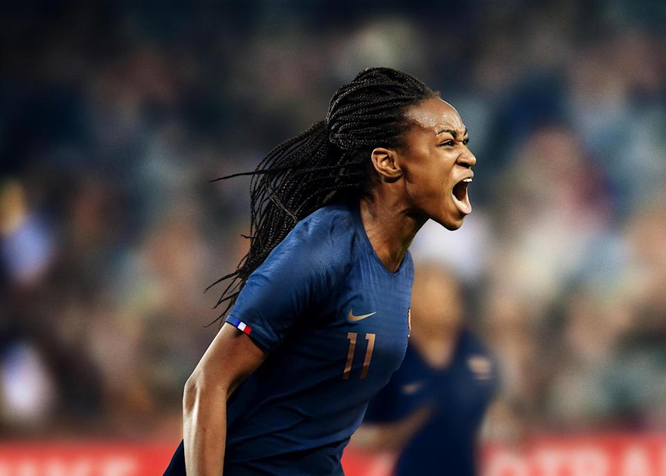 """<p>For home matches, the FFF women will dress in a traditional blue shirt with rose gold details, including crest, FFF marking at the back of the neck and the words """"Nos Différences Nous Unissent"""" within. </p>"""