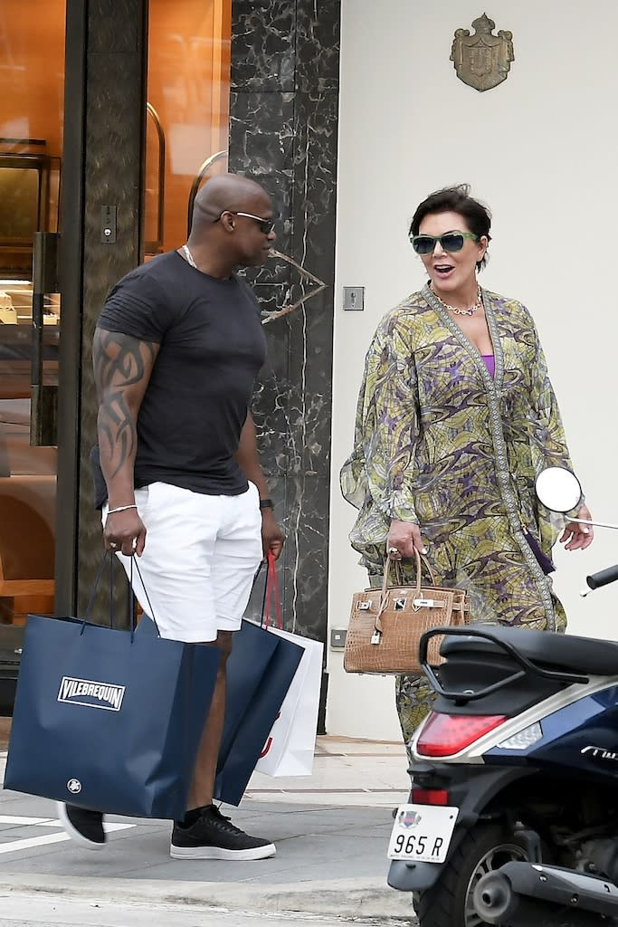 Kris Jenner and Corey Gamble seen enjoying the day in the sun in St Barths. 28 Dec 2019 Pictured: Kris Jenner and Corey Gamble. Photo credit: Spread Pictures / MEGA TheMegaAgency.com +1 888 505 6342 (Mega Agency TagID: MEGA574759_001.jpg) [Photo via Mega Agency]