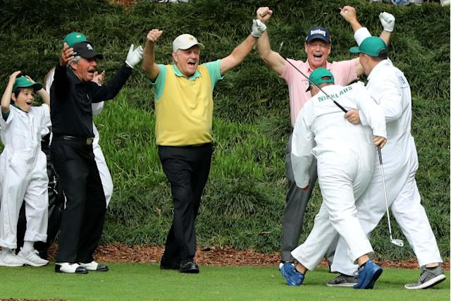 "Jack Nicklaus celebrates with <a class=""link rapid-noclick-resp"" href=""/golf/champions/players/Tom+Watson/59"" data-ylk=""slk:Tom Watson"">Tom Watson</a> and Gary Player (L) after his grandson Gary (R) made a hole-in-one on the 9th hole during the Masters Par 3 Contest on Wednesday."