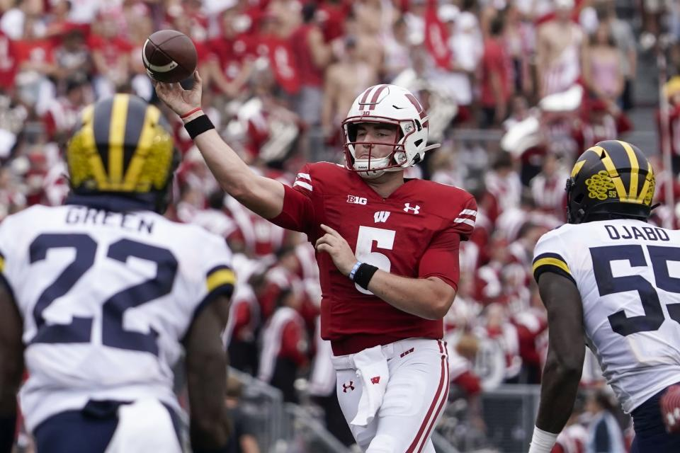 Wisconsin's Graham Mertz throws during the first half of an NCAA college football game against Michigan Saturday, Oct. 2, 2021, in Madison, Wis. (AP Photo/Morry Gash)