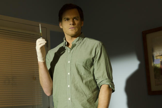 "Michael C. Hall as Dexter Morgan in the ""Dexter"" Season 8 episode, ""Scar Tissue."""