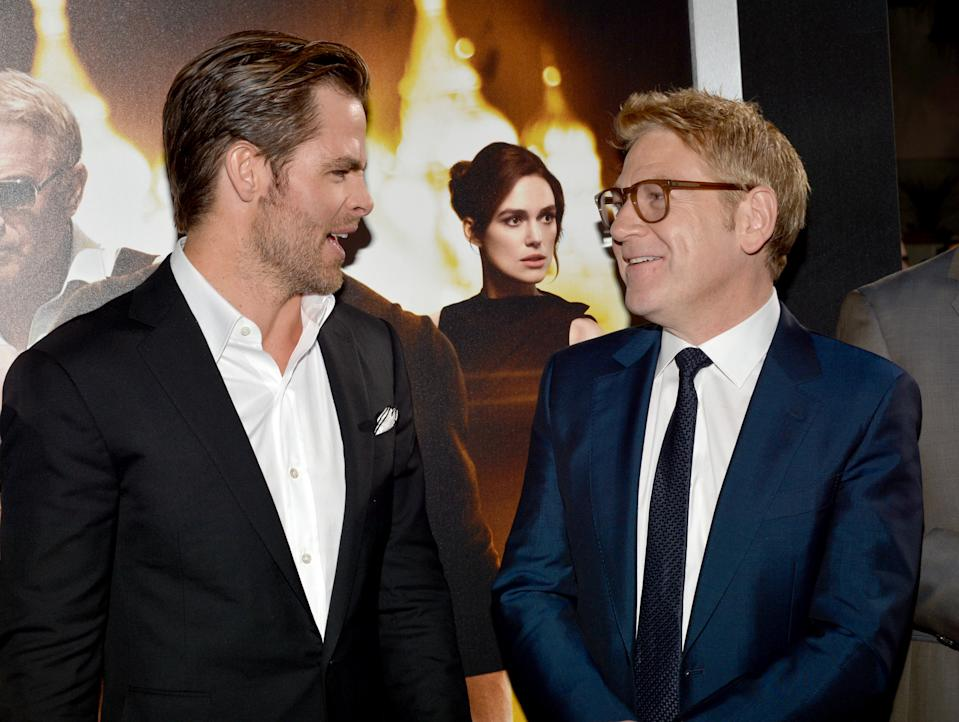 """HOLLYWOOD, CA - JANUARY 15: Actor Chris Pine (L) and director/actor Kenneth Branagh arrive at the premiere of Paramount Pictures' """"Jack Ryan: Shadow Recruit"""" at TCL Chinese Theatre on January 15, 2014 in Hollywood, California. (Photo by Lester Cohen/WireImage)"""