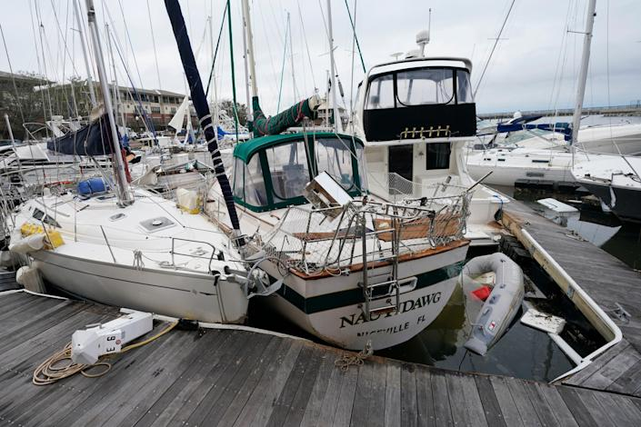 A storm damaged boats at a marina Sept. 17, 2020, in Pensacola, Fla.