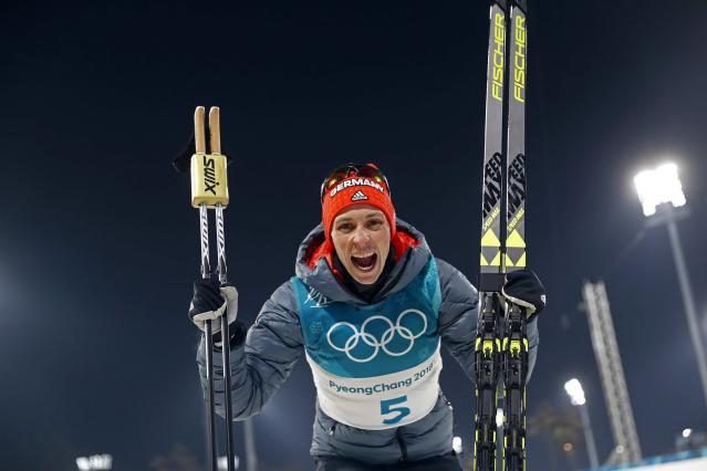 Nordic Combined Events – Pyeongchang 2018 Winter Olympics – Men's Individual 10km Final – Alpensia Cross-Country Skiing Centre - Pyeongchang, South Korea – February 14, 2018 - Eric Frenzel of Germany celebrates his win. REUTERS/Kai Pfaffenbach