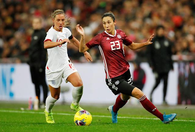 Soccer Football - Women's International Friendly - England v Germany - Wembley Stadium, London, Britain - November 9, 2019 Germany's Sara Doorsoun in action with England's Jordan Nobbs Action Images via Reuters/Andrew Boyers
