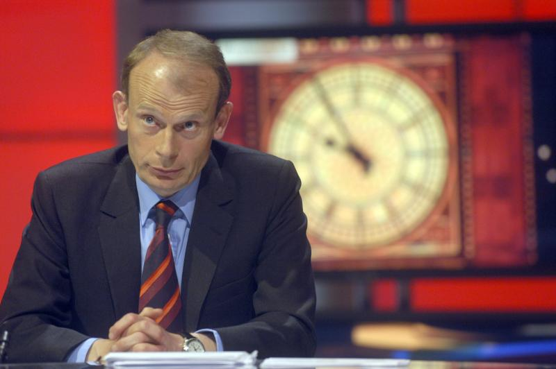 Andrew Marr in during rehearsals in the BBC Election 2005 studio (Photo by Jeff Overs/BBC News & Current Affairs via Getty Images)