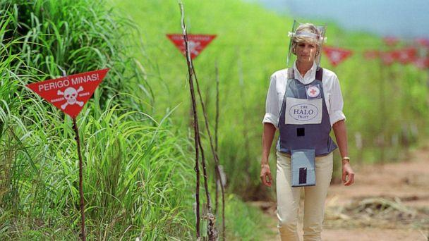 PHOTO: Diana, Princess of Wales wears protective body armor and a visor while visiting a landmine minefield being cleared by the charity Halo in Huambo, Angola, Jan. 15, 1997. (Tim Graham/Getty Images, FILE)