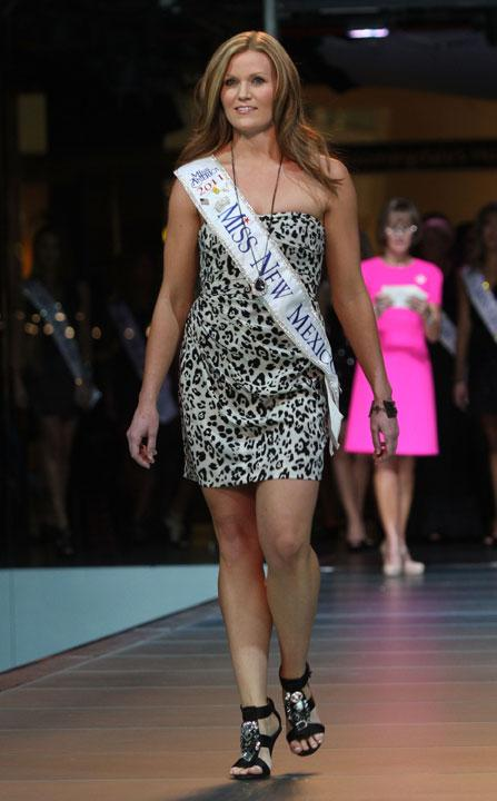 LAS VEGAS, NV - JANUARY 07:  2012 Miss America Pageant contestant Miss New Mexico Sarina Turnbull walks the runway at the Fashion Show Mall on January 7, 2012 in Las Vegas, Nevada.  (Photo by Marcel Thomas/FilmMagic)
