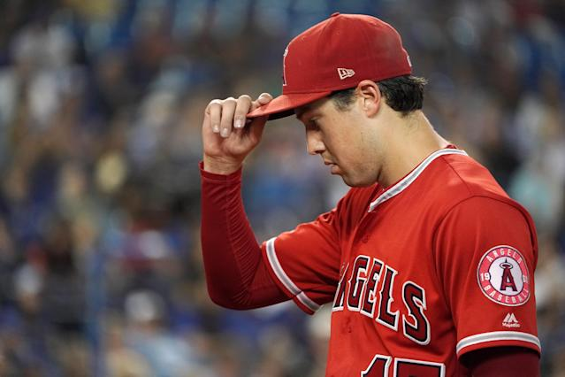 Los Angeles Angels Starting pitcher Tyler Skaggs died Monday at the age of 27, the team announced. (Photo by Jeff Chevrier/Icon Sportswire via Getty Images)
