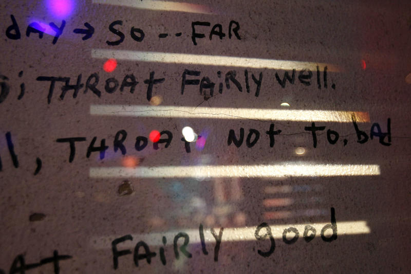 """B.W. Cooper Housing Development resident Tommie Elton Mabry's post-Hurricane Katrina journal entries are seen Friday, Oct. 22, 2010, written on the preserved walls of his apartment at """"Living with Hurricanes: Katrina & Beyond,"""" a new permanent exhibit at the Louisiana State Museum in the French Quarter of New Orleans. Mabry, who did not evacuate, wrote the entries from the day before the storm made landfall until October 2005. The $7.5 million exhibit tells the story of the hurricane, its aftermath and the area's recovery, shows what has been learned from the storm, and the science and technology being developed for future storms. (AP Photo/Patrick Semansky)"""