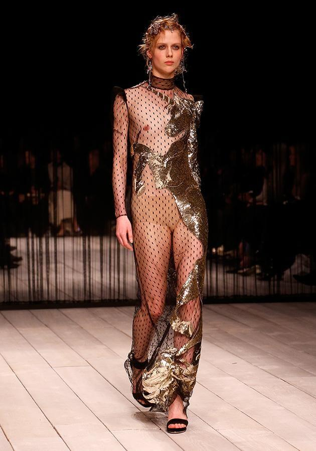 The dress is from Alexander McQueen's A/W 16 collection.