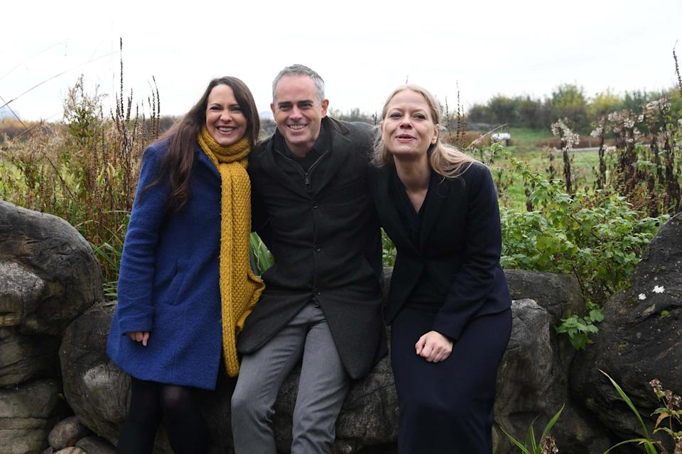 Former Green Party co-leader Jonathan Bartley with Sian Berry (right) and deputy leader Amelia Womack (EPA)