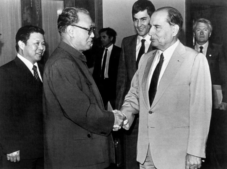 French President Francois Mitterrand (R) meets Chinese Premier Zhao Ziyang (L) on May 4, 1983 in Beijing -- six years before Zhao's opposition to the use of deadly military force against democracy protests led to his sacking (AFP Photo/-)