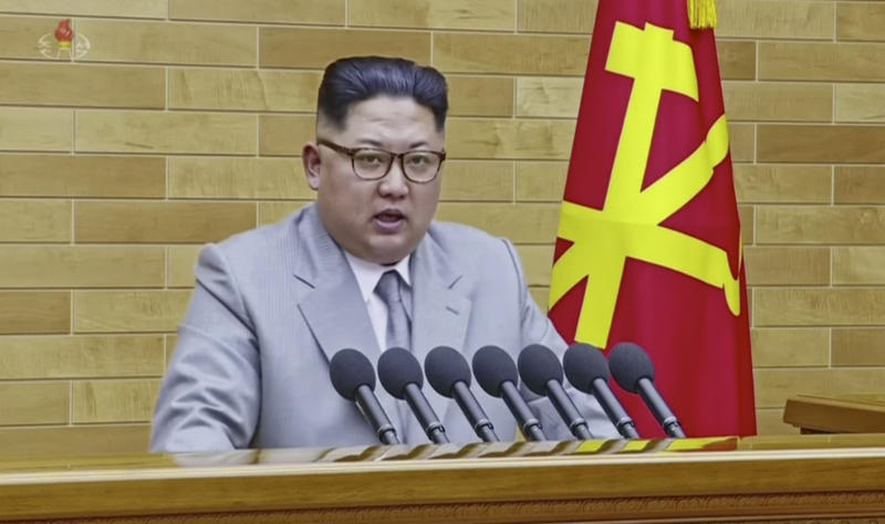 North Korean leader Kim Jong Un speaks in his annual address in undisclosed location, North Korea, Jan. 1, 2018. (Photo: KRT via AP Video)