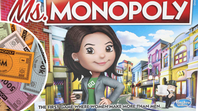Pictured: Ms. Monopoly game and monopoly money. Images: Hasbro, Getty