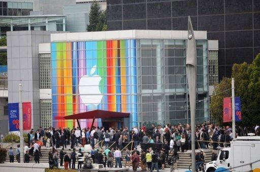 Journalists and attendees line up outside of Yerba Buena Center for the Arts in San Francisco to attend Apple's special media event. Apple on Wednesday introduced a new iPhone 5 with a bigger screen and slimmer body that analysts quickly branded a sure hit for the culture-changing tech giant