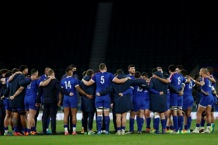 Skipper Charles Ollivon adressed his team on the pitch after the loss to England