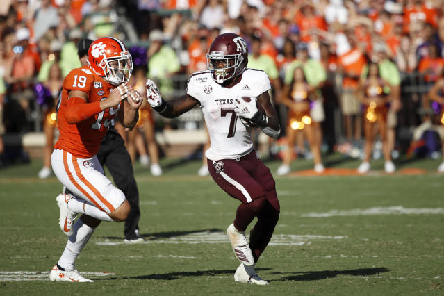 Texas A&M running back Jashaun Corbin suffered a season-ending hamstring injury against Clemson on Saturday. (Photo by Joe Robbins/Getty Images)
