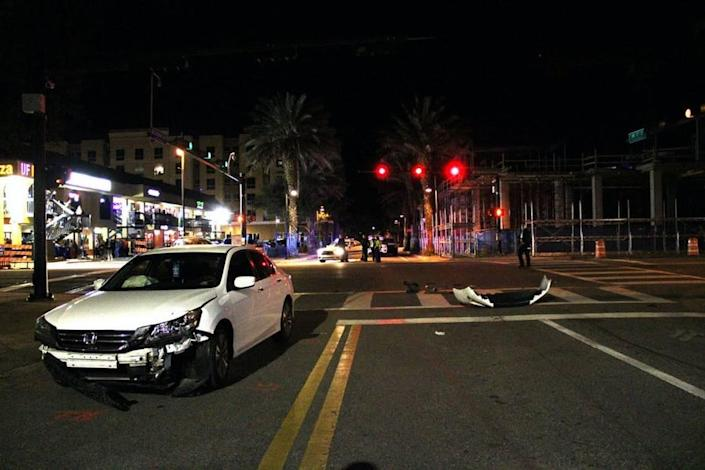 A white Honda Accord involved in a Gainesville car crash Jan. 16, 2021 came to a rest at this spot.