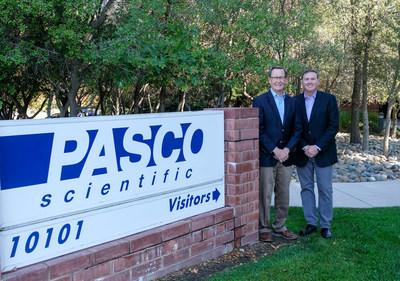 PASCO Scientific founder Paul Stokstad (left) with Richard Briscoe, President and CEO.