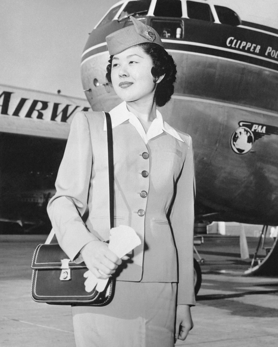 <p>Marian Tagawa, a Pan American Airways flight attendant in 1955. Ms. Tagawa, 21, was a San Francisco secretary before she decided on a flying career.</p>