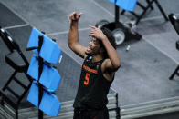Oregon State guard Ethan Thompson celebrates after a Sweet 16 game against Loyola Chicago in the NCAA men's college basketball tournament at Bankers Life Fieldhouse, Saturday, March 27, 2021, in Indianapolis. Oregon State won 65-58. (AP Photo/Darron Cummings)