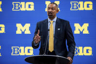 Michigan men's head coach Juwan Howard addresses the media during the first day of the Big Ten NCAA college basketball media days,, Thursday, Oct. 7, 2021, in Indianapolis. (AP Photo/Doug McSchooler)