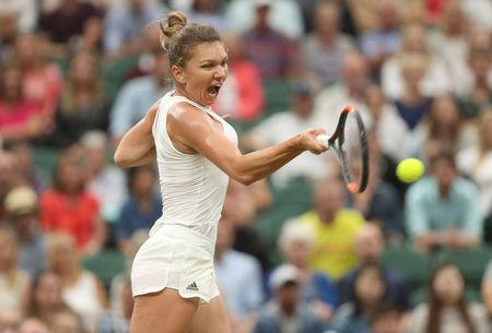 Romania's Simona Halep in action during her quarter final match against Great Britain's Johanna Konta. REUTERS/Matthew Childs
