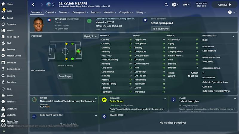 Embed only FM 18 Kylian Mbappe