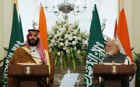 Saudi Arabia's Crown Prince Mohammed bin Salman speaks at a meeting with Prime Minister Narendra Modi as he looks on, at Hyderabad House in New Delhi, February 20, 2019. REUTERS/Adnan Abidi