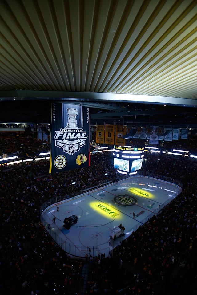 BOSTON, MA - JUNE 19: A general view during introductions of Game Four of the 2013 NHL Stanley Cup Final between the Chicago Blackhawks and the Boston Bruins at TD Garden on June 19, 2013 in Boston, Massachusetts. (Photo by Jim Rogash/Getty Images)