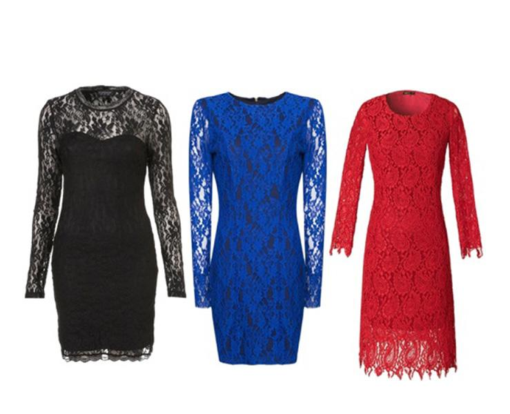 Lace-sleeved dresses are a creative and sexy alternative to the standard cardigan or shawl thrown over a sleeveless cocktail dress look. From left: Topshop, $72; Mango, $100; Choies.com, $71.