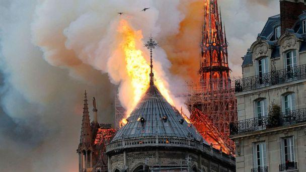 PHOTO: Smoke and flames rise during a fire at the Notre-Dame Cathedral in central Paris on April 15, 2019. (Francois Guillot/AFP/Getty Images)