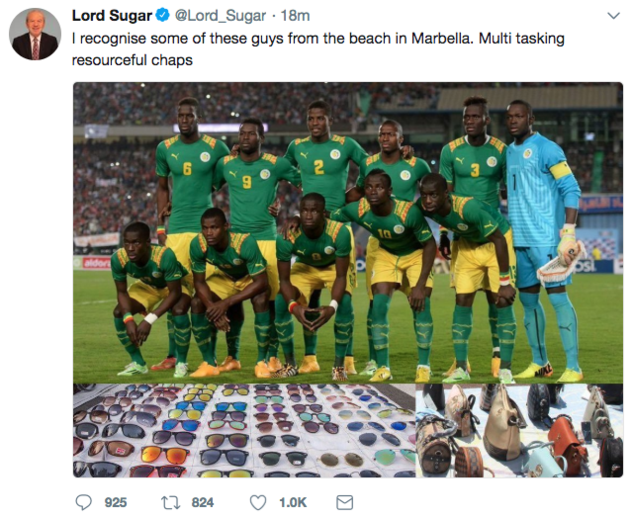 Lord Sugar came under fire for posting this tweet