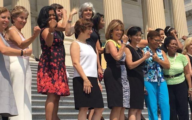 Congresswomen showing support for #SleevelessFriday. (Photo: Via Twitter/alisonnews)