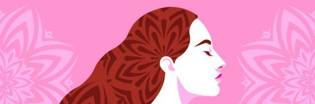 Woman with long hair. Mandalas decorate the hair and pink background.