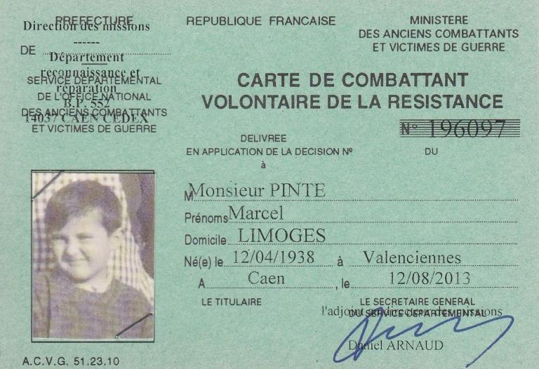 """He posthumously received an official card for """"volunteer combatants of the Resistance"""" in 2013"""