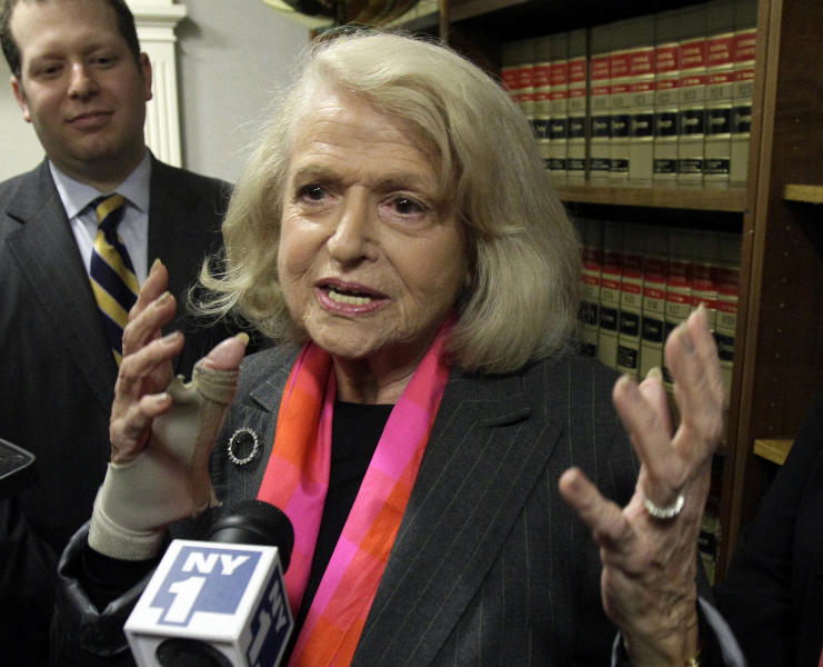"""FILE - This Oct. 18, 2012 file photo shows Edith Windsor interviewed at the offices of the New York Civil Liberties Union, in New York. Windsor sued the government in November 2010 because she was told to pay $363,053 in federal estate tax after her partner of 44 years, Thea Spyer, died in 2009. The federal Defense of Marriage Act defines marriage as """"a legal union between one man and one woman,"""" and that's what the Internal Revenue Service follows when it comes to federal income taxes. AP Photo/Richard Drew, File)"""
